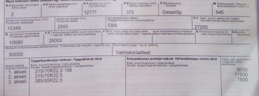 Varsinaisen perävaunun vetoajoneuvon rekisteritodistus.