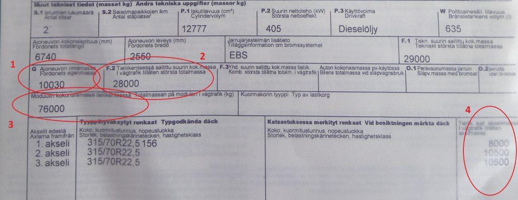 Puoliperävaunun vetoajoneuvon rekisteritodistus