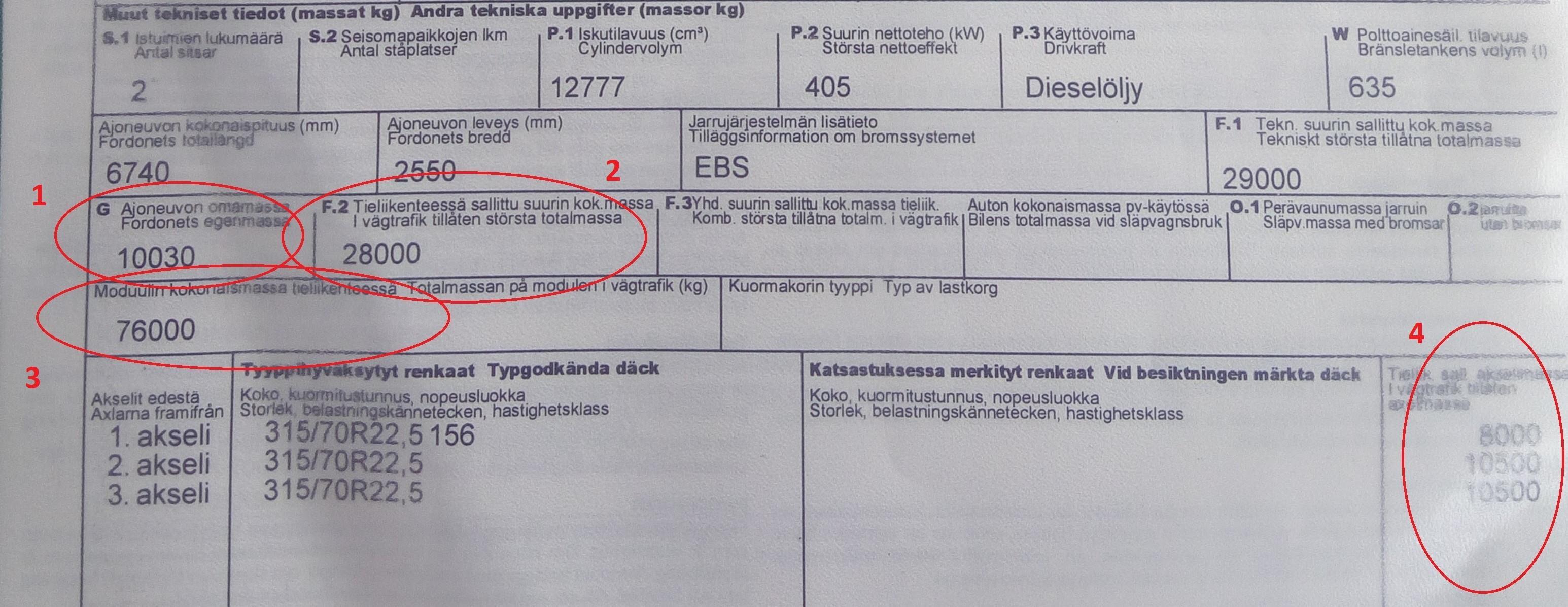 rekisteröintitodistus; puoliperävaunun vetoauto