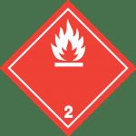 luokka 2; alaluokka 2.1 palavat kaasut (valkoinen)