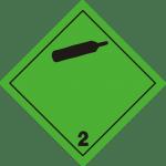 luokka 2; alaluokka 2.2 palamattomat, myrkyttömät kaasut