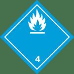 luokka 4.3 aineet, jotka veden kanssa kosketukseen joutuessaan kehittävät palavia kaasuja (valkoinen)